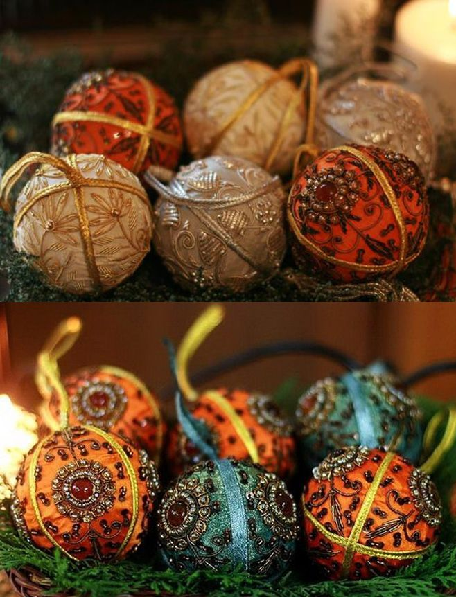 Новогодний декор: ёлочные игрушки, украшенные вышивкой - Ярмарка Мастеров - ручная работа, handmade