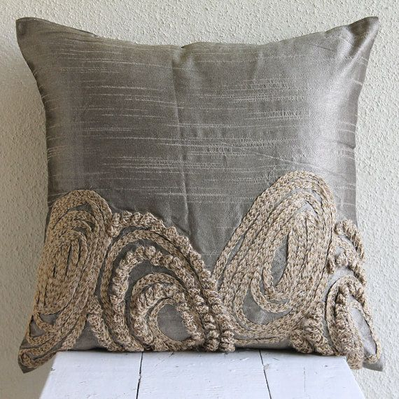 Beaded Grey Throw Pillow : 39 best images about Beaded throw pillows on Pinterest Wild flowers, Throw pillows and ...