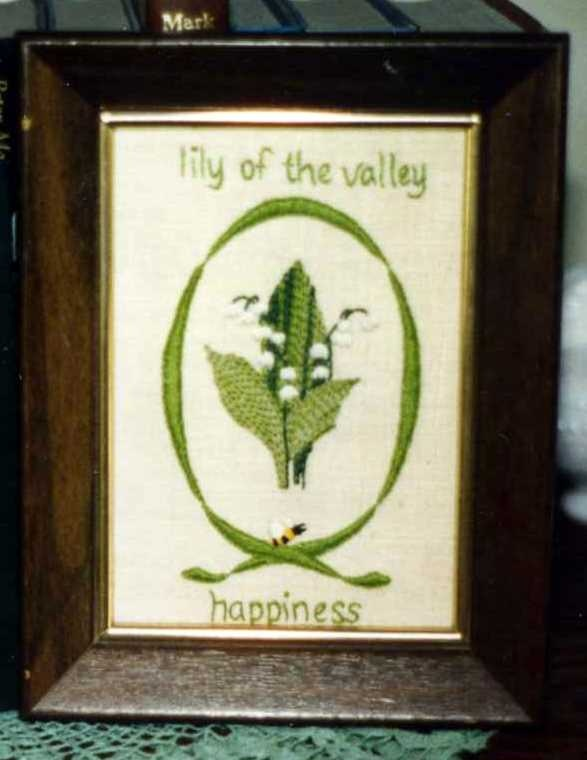 Lily of the Valley satin stitch embroidered picture.  One of my favorite flowers.