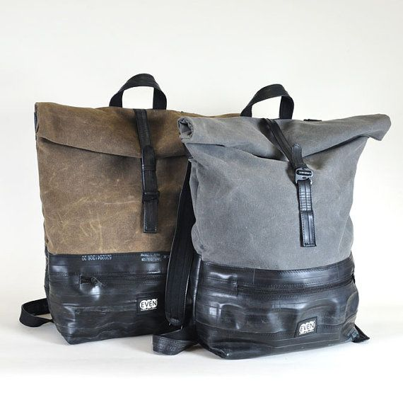 Roll Top Backpack made from waxed canvas and recycled bike inner tubes