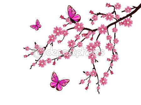 fiori di ciliegio e farfalle rosa