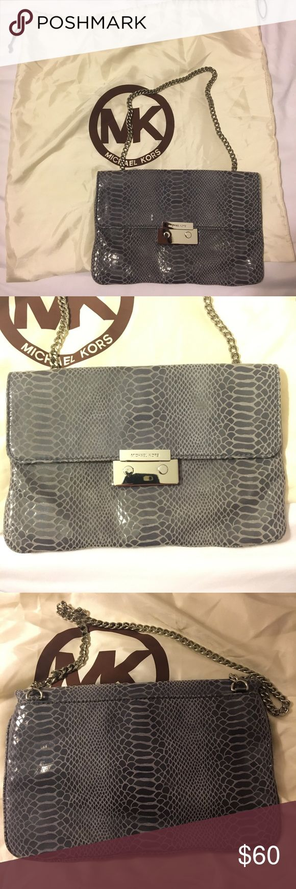 Michael Kors Silver Shoulder Bag Blue-Gray Fake Snake skin Purse with silver hardware. Worn once. Excellent condition. Comes with dust bag. Michael Kors Bags Shoulder Bags
