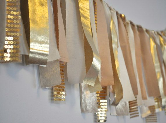 "READY TO SHIP - Gold with glitter sequins and tan tea stained nude Fabric ""rag"" garland - chair garlands to make"