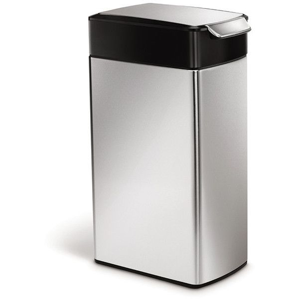 simplehuman Slim Touch Bar Bin - 40L ($126) ❤ liked on Polyvore featuring home, home decor, small item storage, metallic, stainless bucket, stainless steel bin and stainless steel bucket