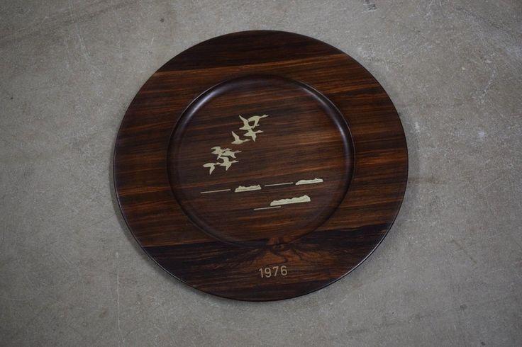 5 Danish mid century rosewood wall platters, Robert Dalgas Lassen, Sterling