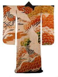 Kimono designs often come from the natural world and have great significance and complex meanings. The crane, for example, is one of the most revered and auspicious animals in Japanese art, representing longevity and good fortune. The crane kimono below, for example, is a wedding kimono created during the Showa period between 1926-1989 (photo courtesy of the Textile Museum).
