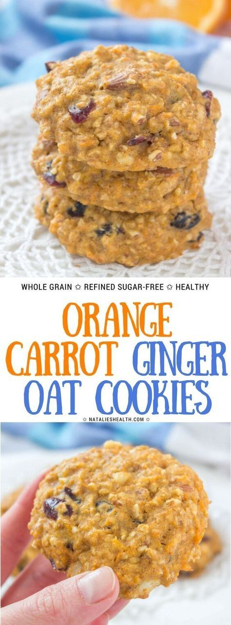 Orange Carrot Oatmeal Cookies with cranberries and walnuts are sweet treat loaded with beautiful flavors. These soft cookies are made with all HEALTHY ingredients and packed with nutrients. Refined sugar-free and super low-calorie, healthy enough for breakfast. #healthy #breakfast #cookies #oats #ginger #kidsfriendly #weightlossrecipes #healthyrecipes #schoolsnack #lunchbox #snack #healthysnack | NATALIESHEALTH.com