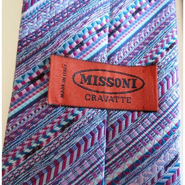 cravate missonimissoni necktie tie vintage authentique promotionsoie made in Italy accessoire homme   missoni cravatta