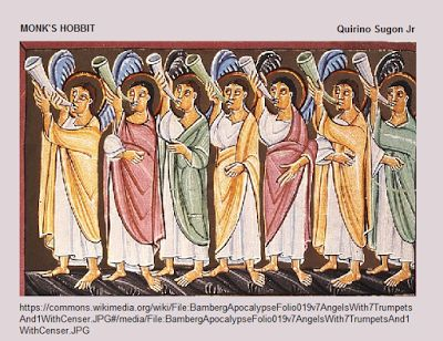 The seven angels with seven trumpets from Bamberg's Apocalypse. #Bible #Paintings