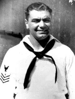 "Ernest Borgnine (né Ermes Effron Borgnino) Gunner's Mate 1st Class US Navy 1935-45 WW II. Born in 1917, he served one term in the Navy after high school, then reenlisted after Pearl Harbor. During the war he served aboard the USS Lamberton (DD-119) in the Pacific Theater. Of his many movies he is best remembered for his role as SSgt. ""Fatso"" in From Here to Eternity, and for the title role in Marty for which he earned an Oscar."