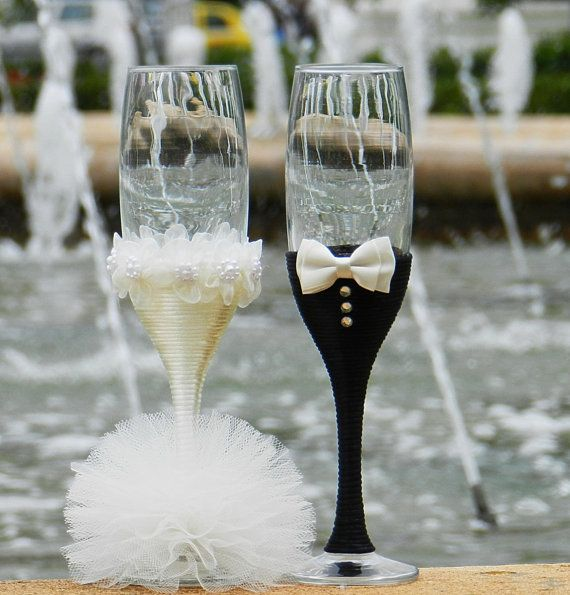 Wedding Glasses Handmade . от AccessoriesbyNicolle на Etsy                                                                                                                                                                                 Mais