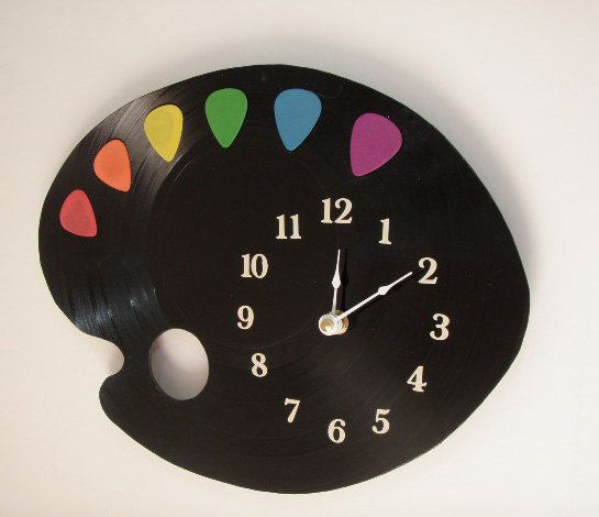 Vinyl Guitar Pick Pallet Clock