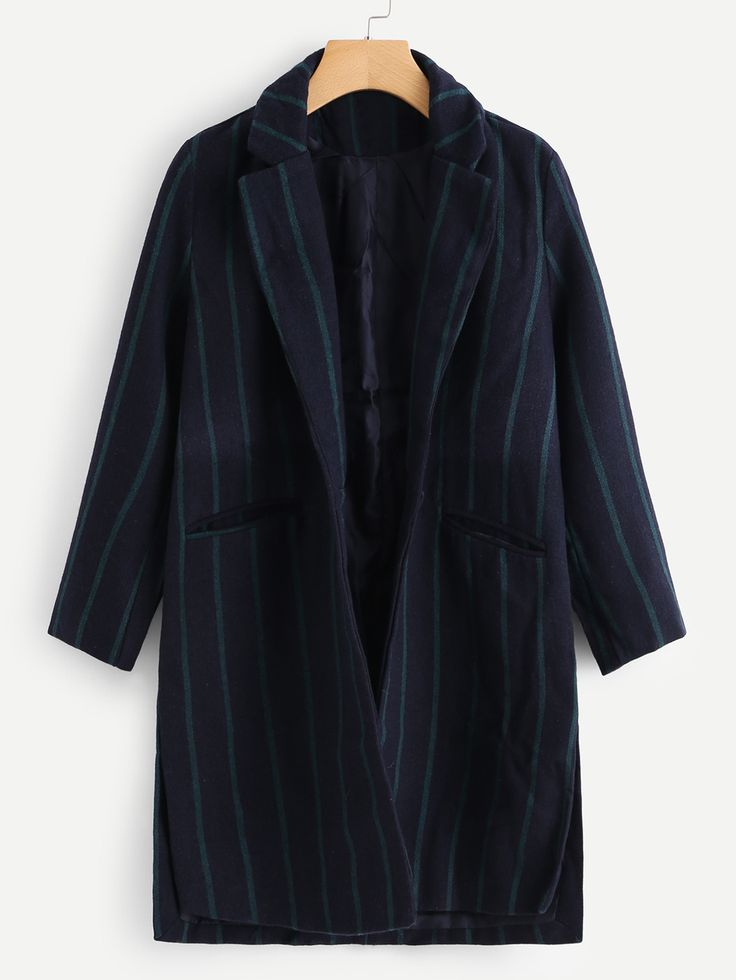 Shop Side Slit Striped Wool Blend Coat online. SheIn offers Side Slit Striped Wool Blend Coat & more to fit your fashionable needs.