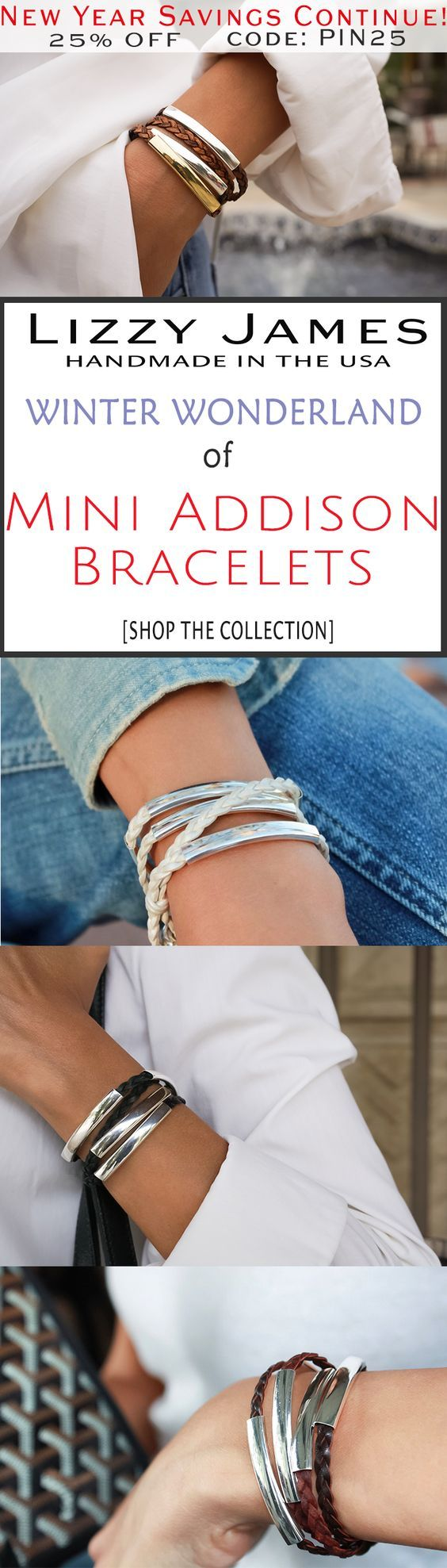 New Year Sale Continues! 25% OFF sale + FREE Shipping for all 1st time buyers with coupon code PIN25 - let Lizzy James Jewelry help you stay in style in the New Year! Featuring braided leather wrap bracelets, our designs fit all wrist sizes from petite to plus size.  Proud to be made in the USA!  #lizzyjames