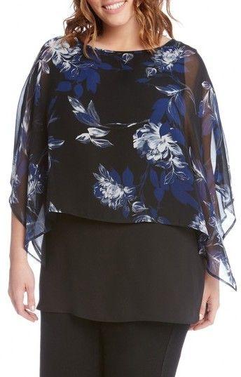 Karen Kane Plus Size Women's Floral Print Double Layer Boat Neck Top