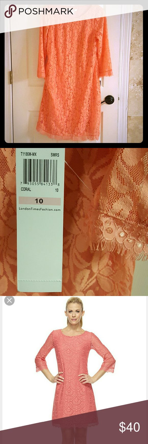 London Times Coral Lace dress NWT Feminine lace shift dress with light fringe detail on the 3/4 sleeves and on the bottom.  The color is best shown on the 3rd picture on the model.  Beautiful color London Times Dresses Midi