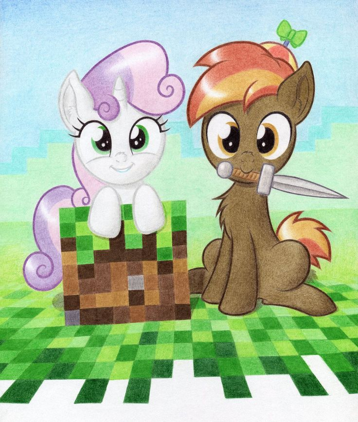 Button and Sweetie Belle on a Minecraft adventure!