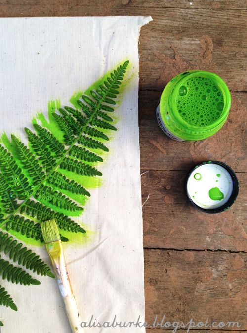 Alisa Burke tutorial dyed fabric with ferns