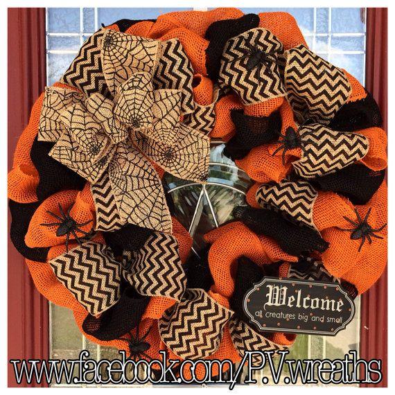 Halloween wreath Burlap Halloween wreath by PVwreathsByMelissa