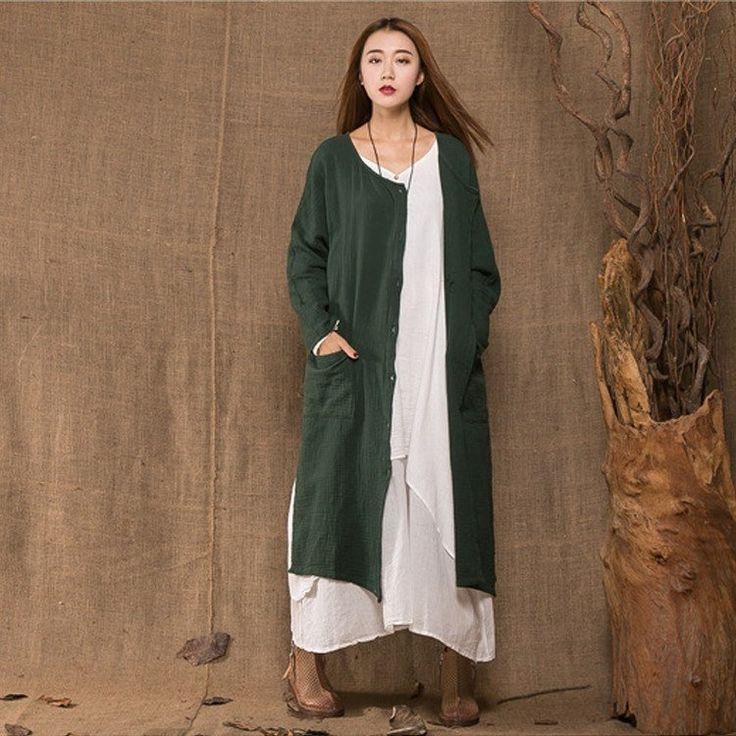 Women green cotton linen loose coat