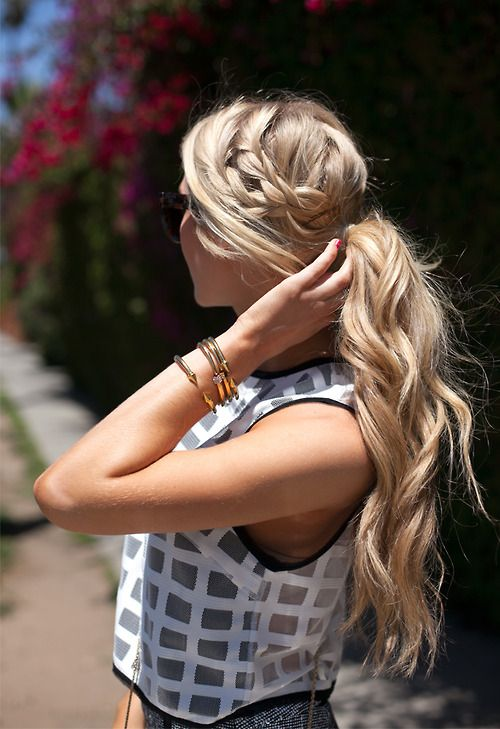 side braid into pony tail