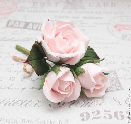 Свадебные украшения ручной работы. Ярмарка Мастеров - ручная работа Букетик роз из полимерной глины. Handmade.