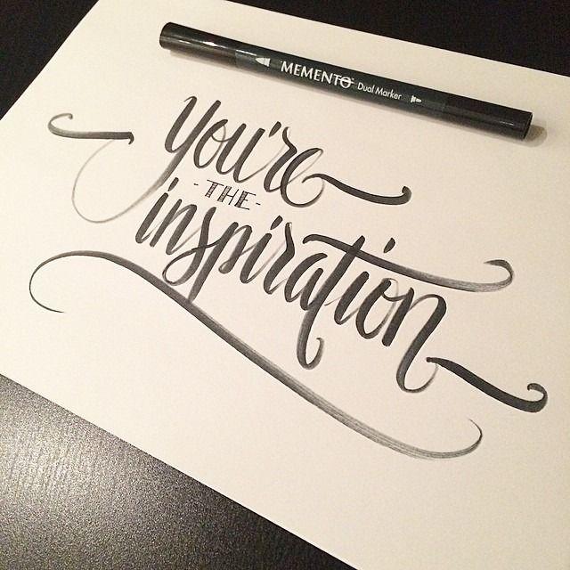 You're the inspiration. Made by Melvin Leidelmeijer. Tags: hand lettering, brush pen, typography, hand written, handgeschreven, typografie, graphic design, grafisch ontwerp, logo, poster, art