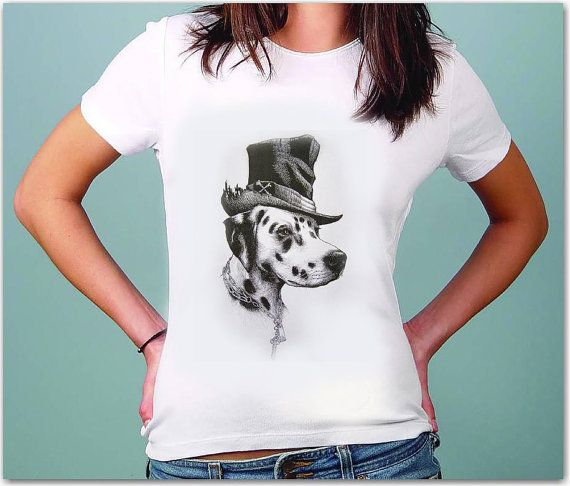 Dog with Hat - Tshirt for WOMEN - summer fashion -- for her /by TShirtpanic