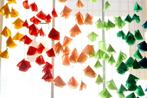 Hanging Fabric Flowers. #DIY