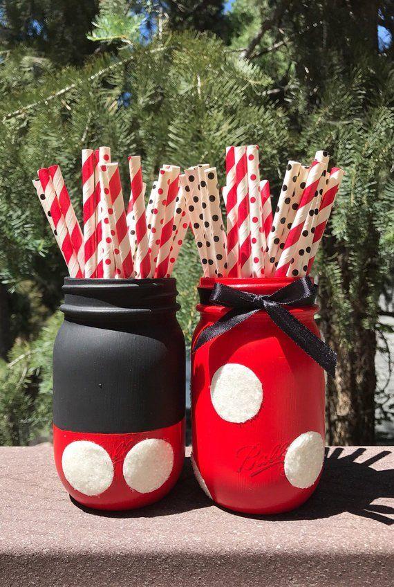 Mickey And Minnie Mason Jars Mouse Birthday Decorations