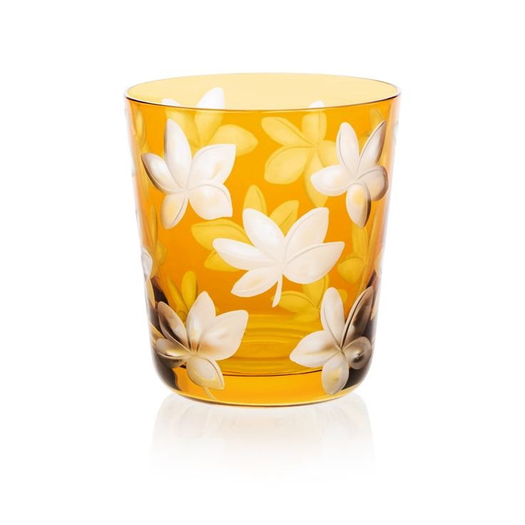 HONEY | Handmade Glass Blown Small Tumbler, Blossom-Honey 1922, height: 85 mm | top diameter: 78 mm | volume: 220 ml | Bohemian Crystal | Crystal Glass | Luxurious Glass | Hand Engraved | Original Gift for Everyone | clarescoglass.com
