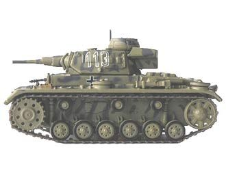 Panzer Kpfw III (Sd Kfz 141 Lybia - 1941) Diecast Model Tank by Ex Mag BX16 This Panzer Kpfw III (Sd Kfz 141 Lybia - 1941) Diecast Model Tank features working turret. It is made by Ex Mag and is 1:72 scale (approx. 7cm / 2.8in long).  Comes in acrylic case with textured base.