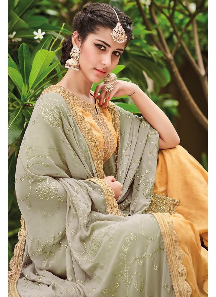 ae02fcd1ca Yellow and Dusty Mint Green Gharara Suit in 2019 | Pakistani dresses ...