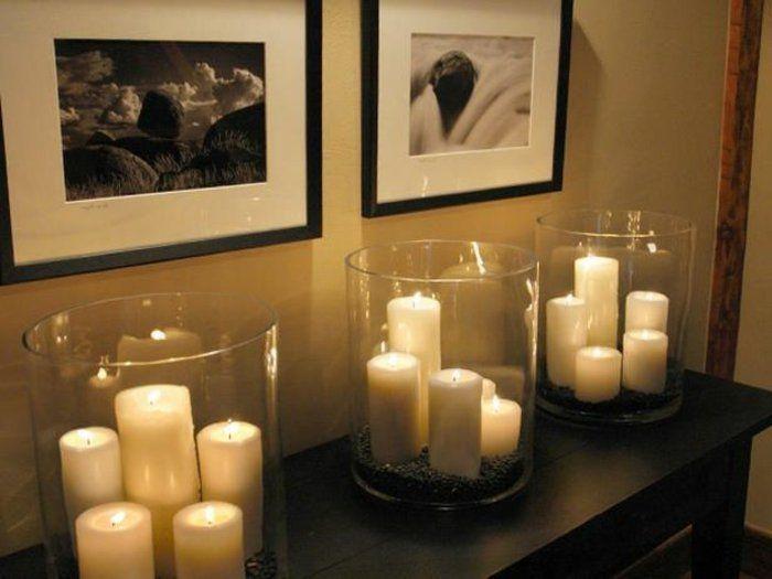 Bougies et photo blanc et noir