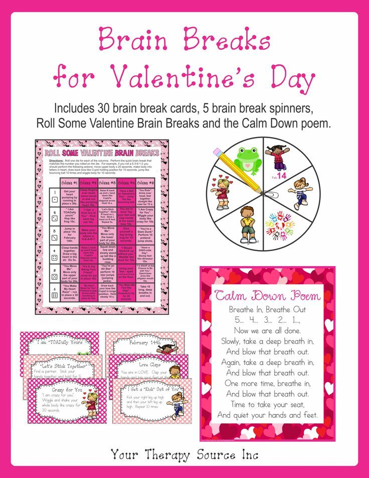 Brain Breaks For Valentine S Day Your Therapy Source Brain Breaks Valentines Day Poems Holiday Lessons