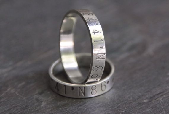 latitude longitude wedding ring custom handmade wedding bands for brides and grooms