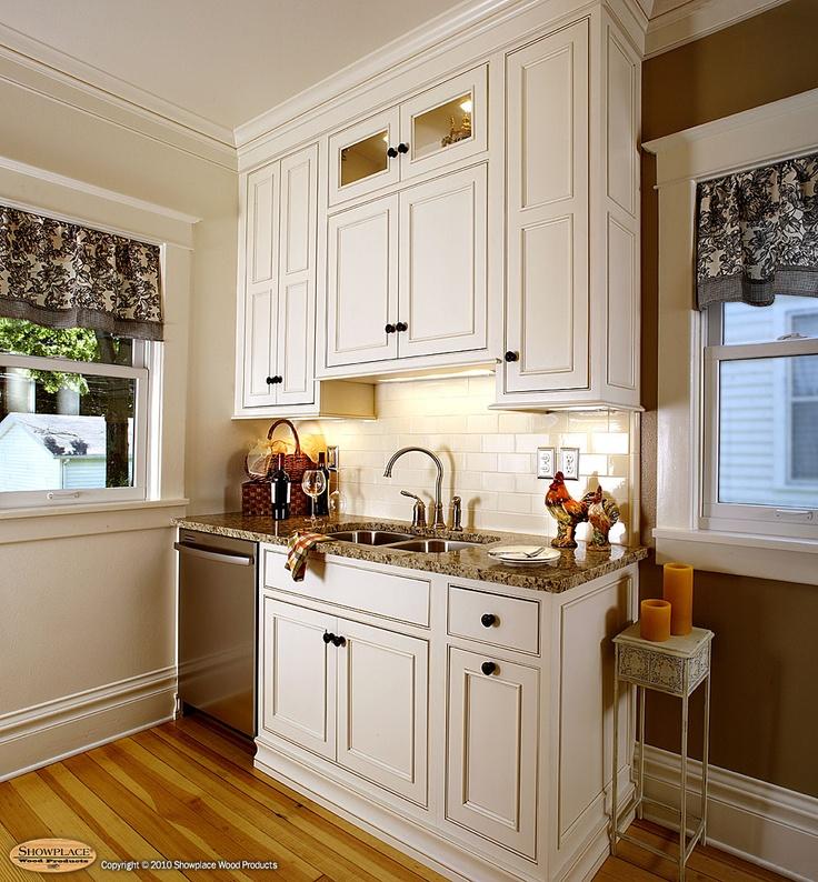 White Kitchen Cabinets Yellow Granite: Showplacewood.com - Door Style: Savannah Inset