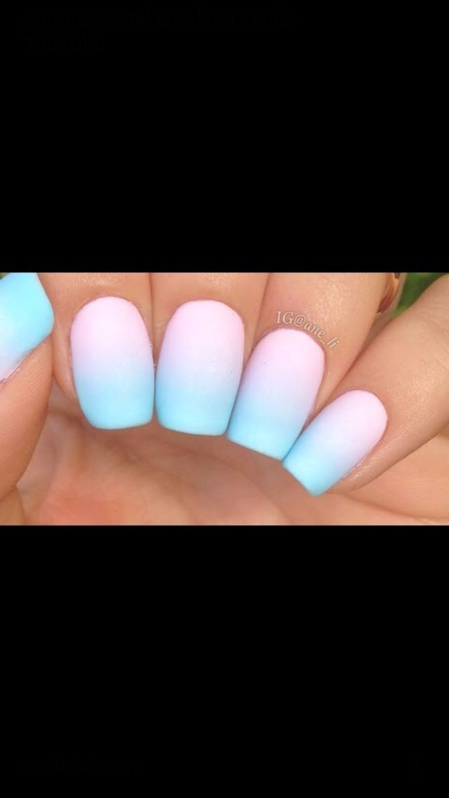 Blue,purple,pink nails all in one