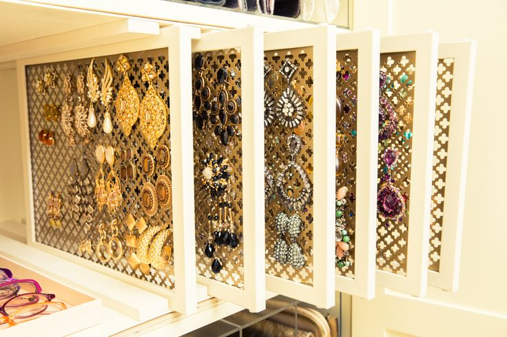 Gorgeous earring organization solution by Jeffrey Philip, in the closet of Gayle King - via The Coveteur