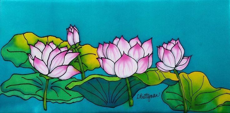 """""""Lotus"""" silk wall hanging."""