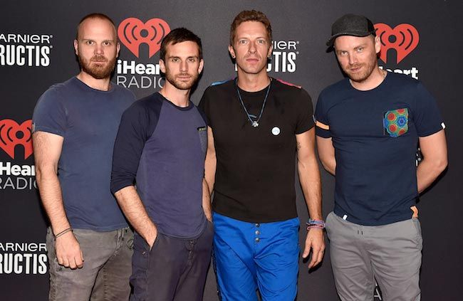 Coldplay members [From Left to Right] Will Champion, Guy Berryman, Chris Martin and Jonny Buckland at 2015 iHeartRadio Music Festival...