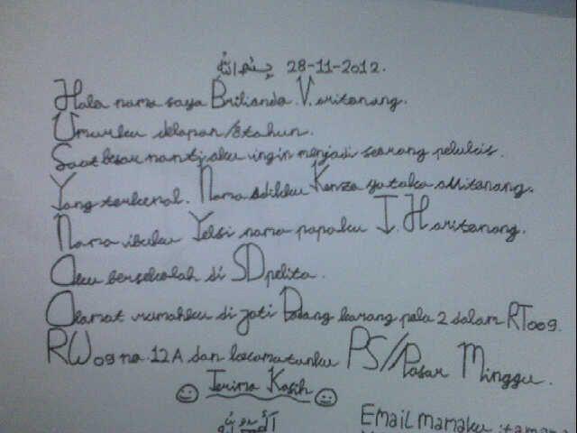 Hand Writing by Briliando V. Aritonang  Tolong di like ya...
