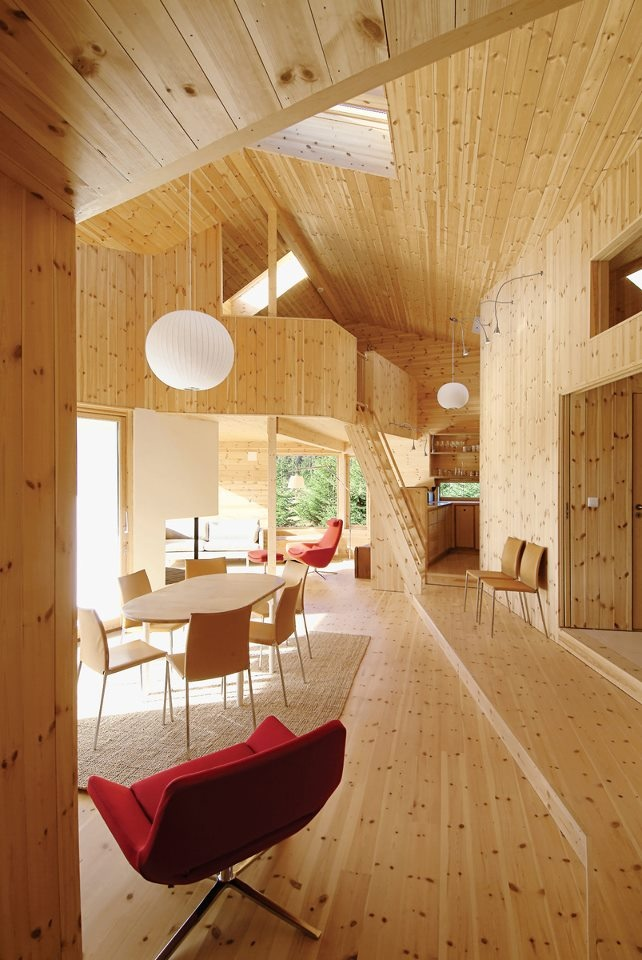 Pin of the day the double height ceiling and knotty interior give the cabin