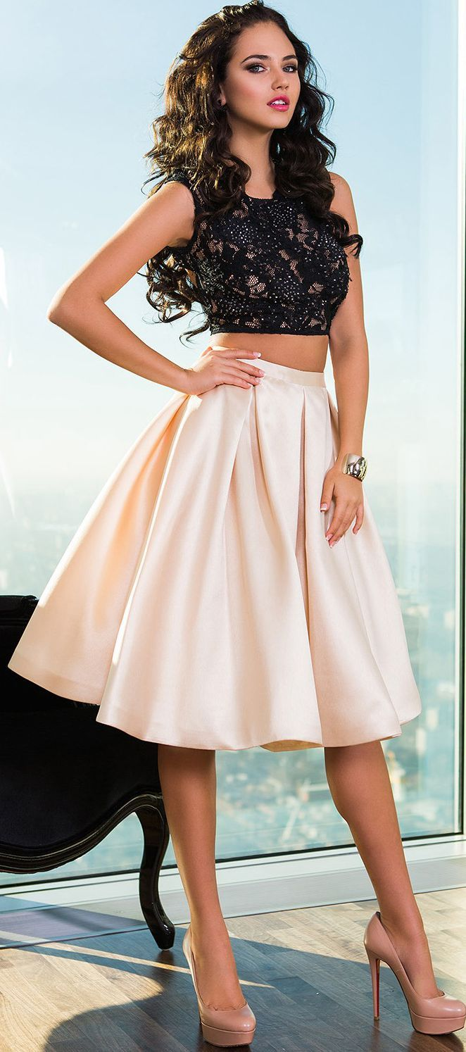 Black & white, two pieces, cute but cool #dresses for #teens, can wear to a party--Sherry London