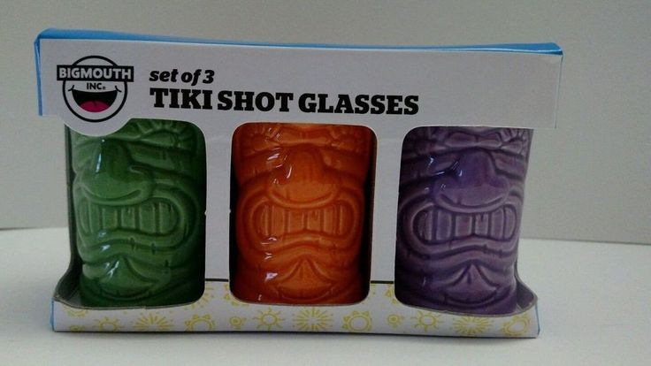 Big Mouth Hand Painted Ceramic Tiki Shot Glasses Set of 3 Green Orange & Purple  #BigMouth