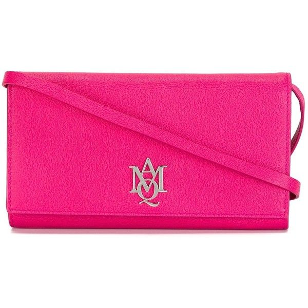 Alexander McQueen logo plaque shoulder bag ($570) ❤ liked on Polyvore featuring bags, handbags, shoulder bags, pink, shoulder hand bags, pink shoulder bag, shoulder handbags, shoulder bag purse and pink purse