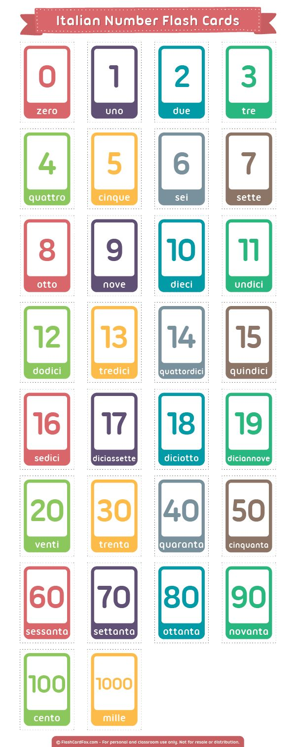 Free printable Italian number flash cards. Download them in PDF format at http://flashcardfox.com/download/italian-number-flash-cards/