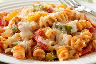 Pâtes et légumes au four - Un bon plat de pâtes pour un souper végé très satisfaisant !