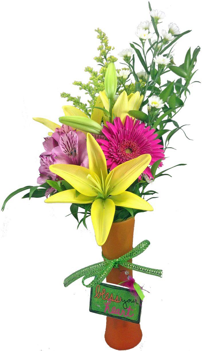 15 best bud vases images on pinterest flower vases bud vases a tropical colored bud vase is arranged with vibrant love lilies gerbera daisies and alstroemeria lilies and other filler flowers with a sassy sign that reviewsmspy