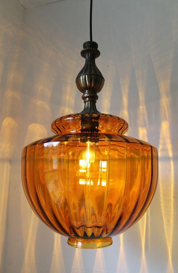 54 best retro glass hanging lamps images on pinterest hanging ichly textured huge amber glass globe mid century retro design hanging pendant lighting fixture aloadofball Gallery